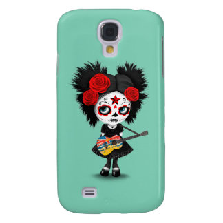 Sugar Skull Girl and British Columbian Flag Guitar Galaxy S4 Case