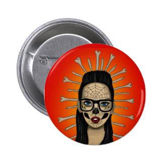 sugar skull girl button