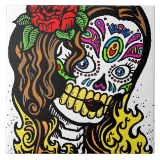 Sugar Skull Girl Ceramic Tile