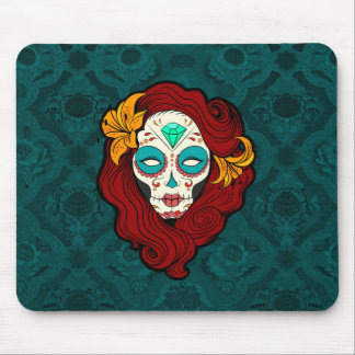 Sugar Skull Girl in Burgundy, White and Green Mouse Pad