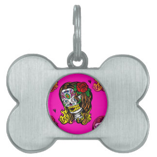 sugar skull girl pet ID tag