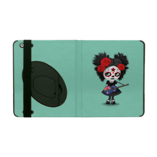 Sugar Skull Girl Playing Australian Flag Guitar iPad Cover