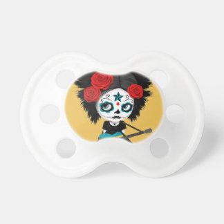 Sugar Skull Girl Playing Bahamas Flag Guitar Baby Pacifier