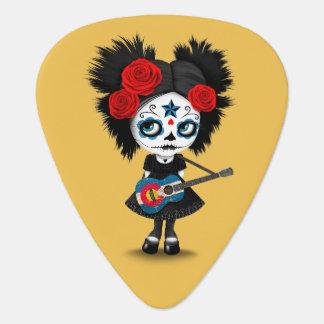 Sugar Skull Girl Playing Colorado Flag Guitar Plectrum