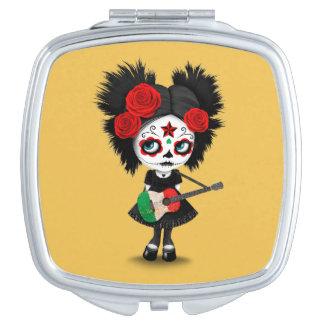 Sugar Skull Girl Playing Italian Flag Guitar Compact Mirror