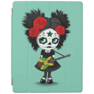 Sugar Skull Girl Playing Jamaican Flag Guitar iPad Cover