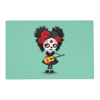 Sugar Skull Girl Playing Spanish Flag Guitar Laminated Place Mat