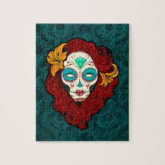 Sugar Skull Girl with Burgundy Red Hair Jigsaw Puzzle