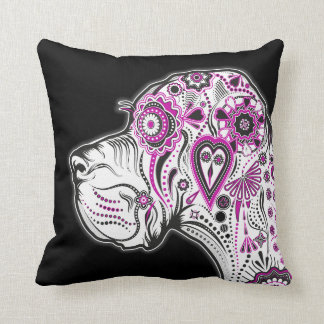 Sugar Skull Great Dane Throw Pillow