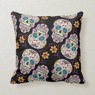 Sugar Skull Halloween Black Throw Pillow