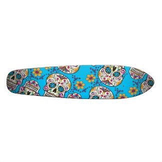 Sugar Skull Halloween Blue Skate Board Deck