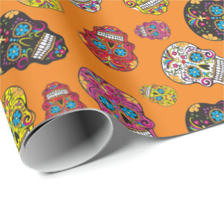 Sugar Skull Halloween Day of the Dead Print Wrapping Paper
