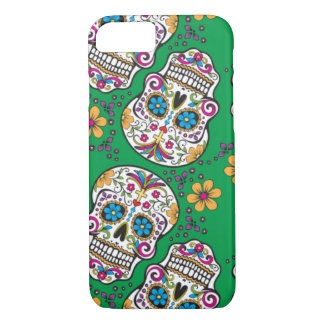 Sugar Skull Halloween Green iPhone 7 Case