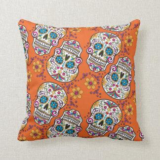 Sugar Skull Halloween Orange Cushion