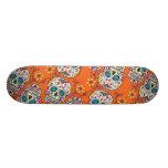 Sugar Skull Halloween Orange Custom Skate Board