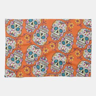 Sugar Skull Halloween Orange Kitchen Towel