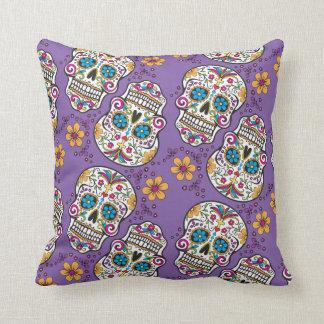 Sugar Skull Halloween Purple.png Throw Pillow