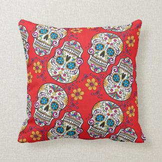 Sugar Skull Halloween Red.png Throw Pillow