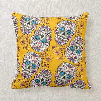 Sugar Skull Halloween Yellow Throw Pillow
