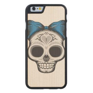 Sugar Skull Illustration Carved Maple iPhone 6 Case