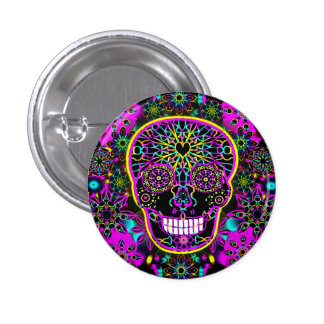 Sugar Skull in Neon Pink 3 Cm Round Badge