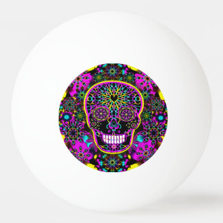 Sugar Skull in Neon Pink Ping Pong Ball