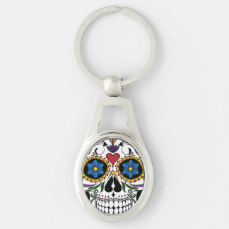 Sugar Skull Keychain Silver-Colored Oval Key Ring