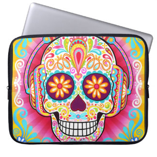 Sugar Skull Laptop Sleeve - Skull with Headphones