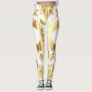 Sugar Skull Leggings, Gold White Leggings