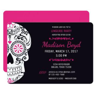 Sugar Skull Lingerie Party Hot Pink & Black Invite