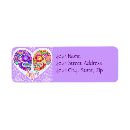 Sugar Skull Love Couple Return Address Labels