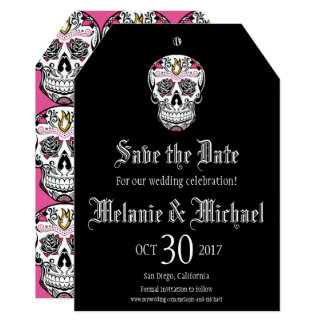 Sugar Skull Luggage Tag Style Save the Dates Card