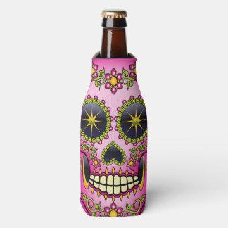 Sugar Skull Magenta Floral Bottle Cooler