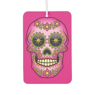 Sugar Skull Magenta Floral Car Air Freshener