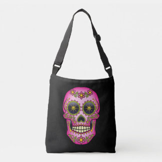 Sugar Skull Magenta Floral Crossbody Bag