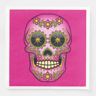Sugar Skull Magenta Floral Disposable Serviette