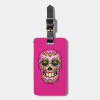Sugar Skull Magenta Floral Luggage Tag