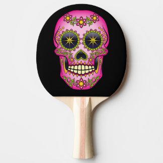 Sugar Skull Magenta Floral Ping Pong Paddle