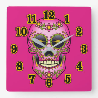 Sugar Skull Magenta Floral Square Wall Clock