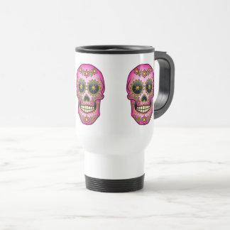 Sugar Skull Magenta Floral Travel Mug