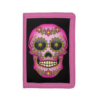 Sugar Skull Magenta Floral Tri-fold Wallet