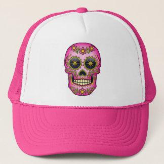 Sugar Skull  - Magenta Floral Trucker Hat
