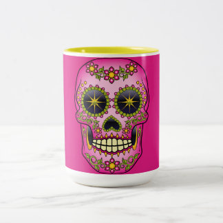 Sugar Skull Magenta Floral Two-Tone Coffee Mug