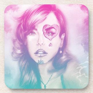 Sugar Skull Makeup Girl, 6 Plastic Coasters Set