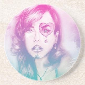 Sugar Skull Makeup Girl, SandStone Coaster