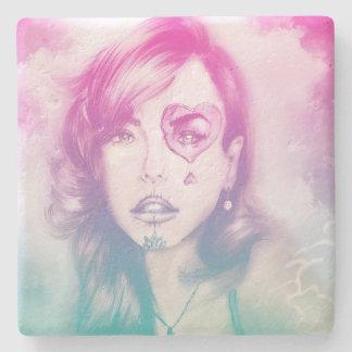 Sugar Skull Makeup Girl, Stone Coaster