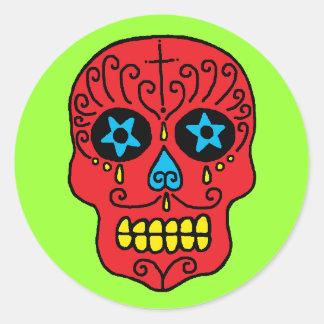 Sugar Skull Man Round Stickers