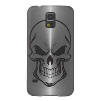 Sugar Skull Metallic Silver Stainless Steel Look Galaxy S5 Case