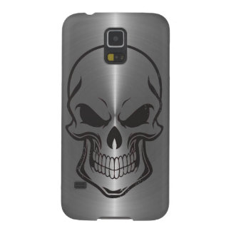 Sugar Skull Metallic Silver Stainless Steel Look Galaxy S5 Cases