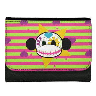Sugar Skull Monkey Hearts & Stripes Wallet